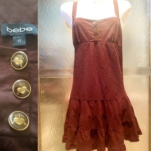 Bebe Eyelet Ruffle Mini Dress Size XS